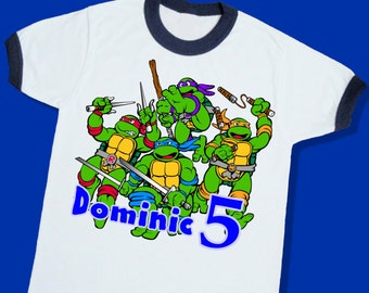 Teenage Mutant Ninja Turtles Birthday Ringer Tee. Personalized Birthday Shirt with Name and Age. 1st 2nd 3rd 4th 5th 6th Birthday (25028)