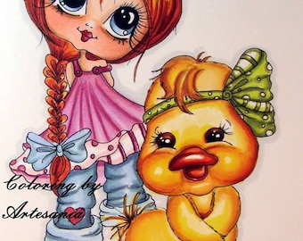 INSTANT DOWMLOAD Digital Digi Stamps Big Eye Big Head Dolls Digi Img4972  By Sherri Baldy