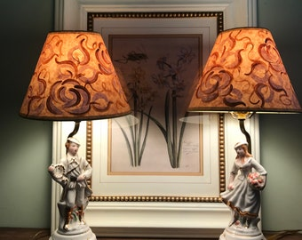 Set of Vintage Boudoir Lamps with Hand Painted Shades