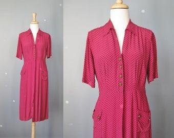 Polka Dot Day Dress / Vtg 50s / Paul Martin Deep Pink Buttondown Polka Dot Day Dress