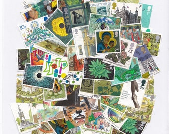 Green Colour Themed Used Old Postage Stamps; scrapbook, paper ephemera, coloured paper scraps, collage, decoupage, cool forest, card ideas,