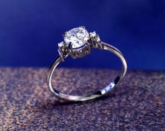 5.46 mm Round Cubic Zirconia Engagement Ring