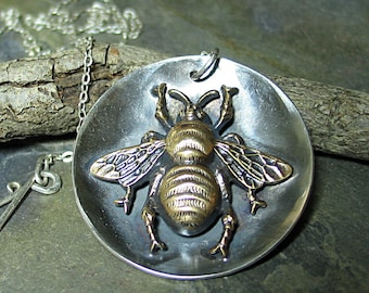Bee Pendant  Bumblebee Pendant  Honeybee Necklace sterling silver Garden Jewelry Insect Jewelry  - The Garden Bee