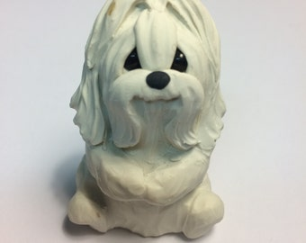 Maltese Dog Sculpture Polymer Clay MALTESE Mini by Raquel at theWRC DOG Collectible