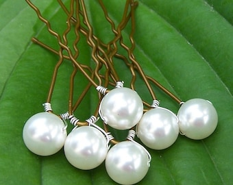 8 Bridal Hair Pins with Swarovski Pearls 8mm