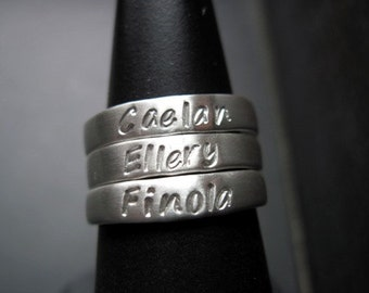 One (1) Sterling Silver Stackable Ring -4mm wide - Size 7 -Hand Stamped Ring-Personalized Ring-Personalized Band-Silver Ring-Sterling Ring