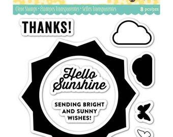 "Jillibean Soup SUNSHINE clear silicone stamp set By Hampton Art 4"" x 4"" JB0838 - CS116"