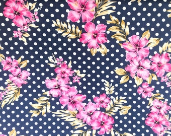 Floral Navy and White Dots Double Brushed Poly Floral Print By The Yard 60'