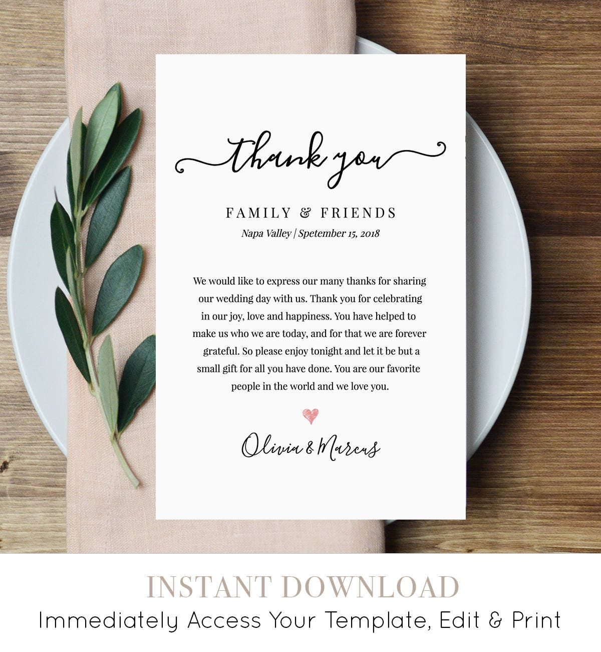 Wedding Thank You Letter, Thank You Note, Printable Wedding In Lieu ...
