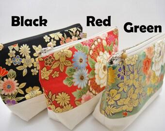 Japanese makeup bag, Zipper pouch, Golden flowers