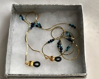 Vintage Korea Gold Eyeglass Chain. Blue Bead and Chain Readers Glasses Holder Necklace Repurposed Jewelry Mother's Day Gift for Her. Grandma