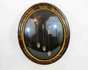Antique Set of 3 Brass Cocktail Spoons, Framed In Antique Oval Convex Glass Frame. Circa 1920's - 1930's.