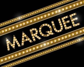 Digital Alphabet Broadway Marquee Scrapbook Elements & PSD