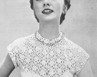 1955 Rose Yoke Blouse Vintage Crochet Pattern PDF Instant Download 113
