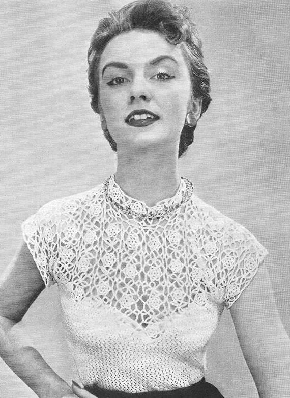 1955 Rose Yoke Blouse Vintage Crochet Pattern Pdf Instant