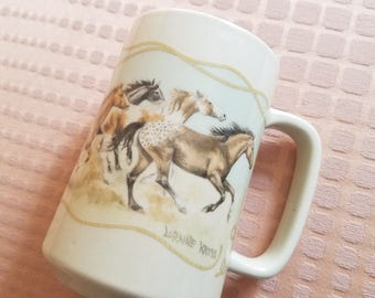 Vintage Otagiri Running Horses Western coffee mug Advantage Collection Loraine Kress