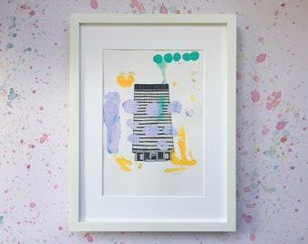 Unique One Off Monoprint - Sheffield University Arts Tower I - Lilac Spots