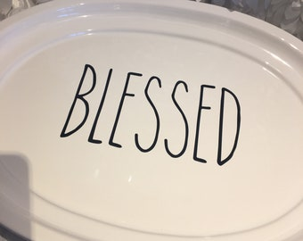 Blessed hand lettering style vinyl for large platter or front door/glass/window