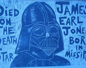 Darth Vader/James Earl Jones  Woodcut