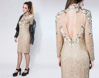 80s Black Tie | Made by He-Ro | nude silk gold beaded long sleeve cut out mini dress, size medium