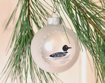 Hand painted ornament painted loon glass Christmas ornament nature lover gift under 25 rustic Christmas tree decoration bird lover ornament