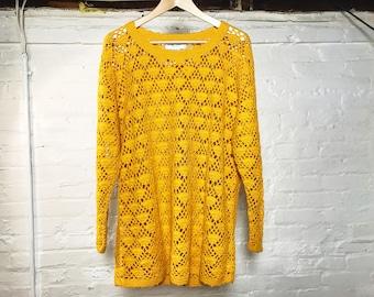 Yellow Crochet Oversized Sweater