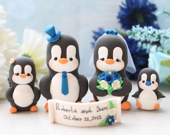 Family wedding cake toppers Penguins - LARGERsize, 2 babies/children - unique figurines anniversary gift bride groom royal blue son daughter