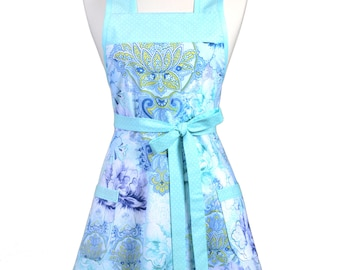 Womens Vintage Apron - Aqua Blue Floral Apron - Cute Retro 50s Style Kitchen Apron with Pocket - Over the Head Apron