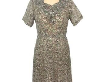 Jahrgang 1950 schiere paisley Kleid / Baumwolle / Tag Kleid / Sommer Kleid / weiblich / Damen Vintage Kleid / Größe Medium