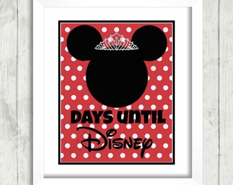 Days Until Disney Countdown Printable Mickey Minnie Ears Tiara Instant Download Vacation Countdown Disney Disneyland Cruise World