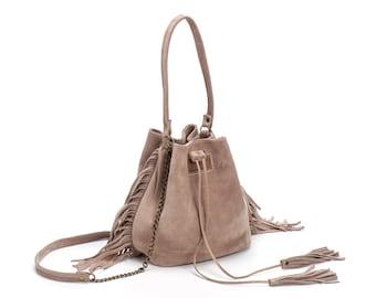 Leather Bucket bag, Mini Drawstring bag, fringe bucket bag, Leather fringe bag, Sale!