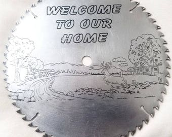 "Laser Engraved Refurbished 10"" Saw Blade Art Decor with Laser Engraving"
