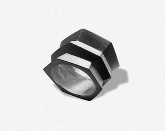 Silver Ring - Wide Ring - Geometric Ring - Wide Band Ring - Diagonal Ring - Faceted Ring - Wedding Ring - Silver Band - Statement 925 Ring
