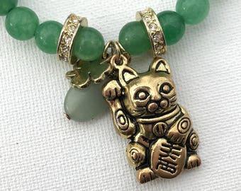 Maneki Neko, Fortune Cat, Lucky Cat, Lucky Bracelet, Chinese New Year, Lucky Jewelry, Japanese Jewelry, Japanese Gifts, Chinese Gifts,