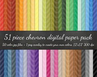 80% OFF SALE Digital Scrapbook Chevron 51 Piece Paper Pack - 50 Chevron Colors & Overlay to DIY - Digital Scrapbook Paper Digital Paper Pack