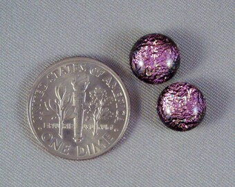 Pink Green Dichroic on Black Fused Glass Round Cabochons for Crafting or Jewelry by Solaris Beads 2313