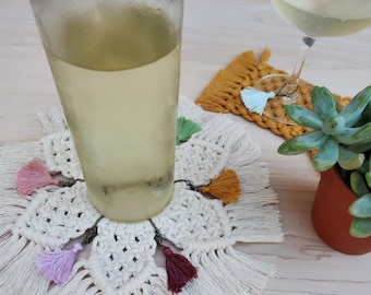 Macrame wine tassel set