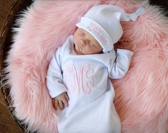 baby girl coming home outfit, Personalized baby girl gift, newborn gown, girl hospital outfit, monogrammed, layette, first pictures, pink