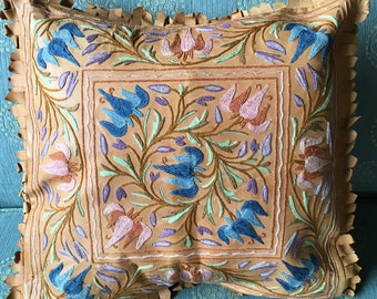 Vintage Moroccan Embroidered Crewel Leather Pillow Cover