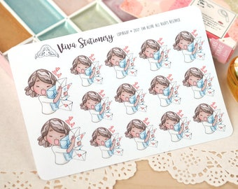 Kawaii Girl Happy Mail Stickers Version 1 ~Vashti~ For your Life Planner, Diary, Journal, Scrapbook...