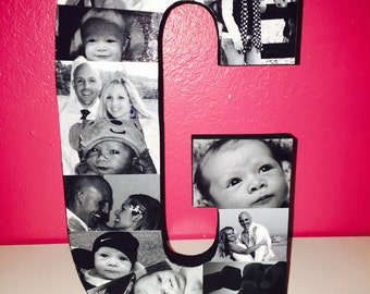 "Wooden Letter Photo Collage (3/4"" thick letter)"