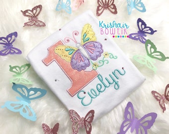 Unicorn shirt, unicorn tutu, hairbow, applique embroidered, butterfly tutu, butterflies, birthday outfit, pink and gold