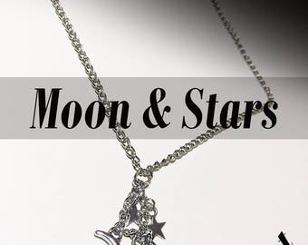 Moon and Stars Silver Lariat Necklace
