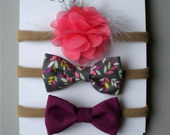 Flower and headband, elastic or clip - baby and child - fabric loops