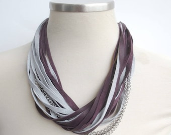 Casual Leather and Chain Necklace Burgundy Grey Multi Strand Leather Bib Necklace Unique Handmade Leather Jewelry for Women