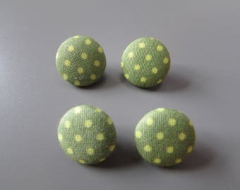 Polka Dot Fabric Buttons X 4     5 colours to choose