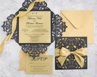 Black and Gold Laser Cut Wedding Invitation and RSVP