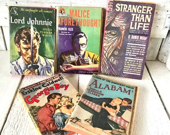 5 vintage pulp fiction novels books 1940s 1950s retro color covers paperbacks/ free shipping US