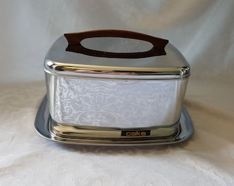 Mid Century Cake Carrier, Lincoln Beauty Ware Cake Carrier, Vintage Stainless Steel Cake Carrier, Cake Saver