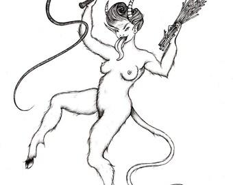 Lady Krampus (unframed print)